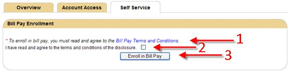 Third step in Bill Pay enrollment.