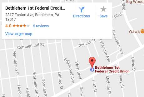 Click here to see the actual Google Map for directions to Bethlehem 1st Federal Credit Union.