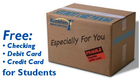 Free for students: Checking Account, Debit Card, Credit Card. Read more...
