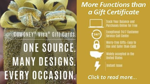 CUMONEY Visa Gift Cards have more functions than a Gift Certificate.